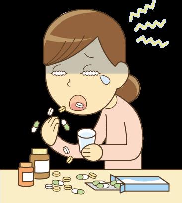 頭痛薬を飲んでいる女性のイラスト