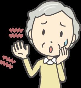 手のしびれに悩む女性のイラスト