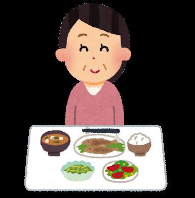 和食を食べるイラスト