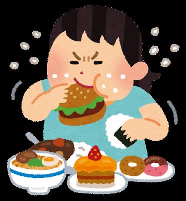 食べ過ぎのイラスト